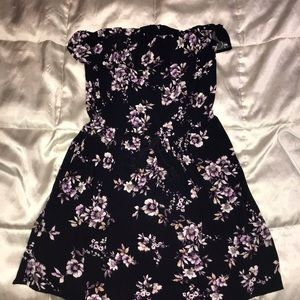 Strapless floral navy blue and purple dress